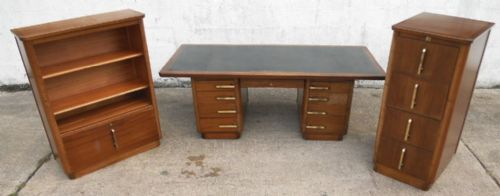 Office Writing Desk & Matching Filing Cabinet & Display Cabinet by Abbess